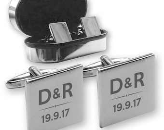 Personalised engraved groom, anniversary, valentines, wedding cufflinks gift, in a chrome coloured presentation box - CP1