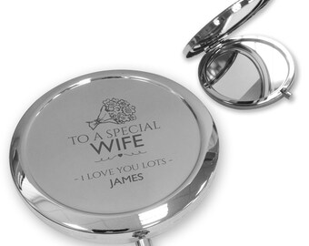 Personalised engraved Special WIFE compact mirror gift, handbag pocket mirror Push button - PBM-FP9