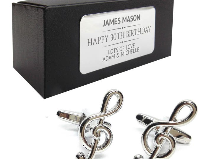 Music note treble clef CUFFLINKS birthday gift, presentation box PERSONALISED ENGRAVED plate - 178
