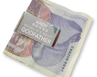 Personalised engraved godfather MONEY CLIP, World's best - silver plated  - WB4