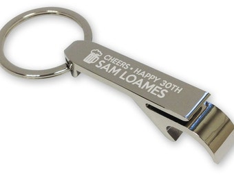 Personalised engraved 30th birthday BOTTLE OPENER keyring gift idea - beer, cheers! - silver plated  - CH30