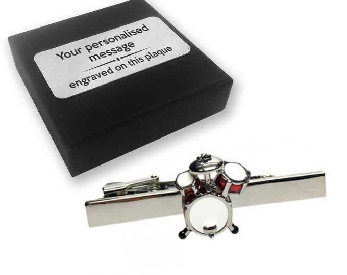 Drums, drummer, drumming, musical instrument, TIE CLIP, tie tac, personalised ENGRAVED novelty birthday christmas wedding gift - 046