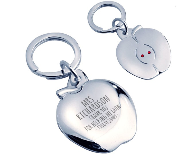Personalised engraved Teacher teaching assistant keyring gift, silver plated, crystal - AP-TEA5