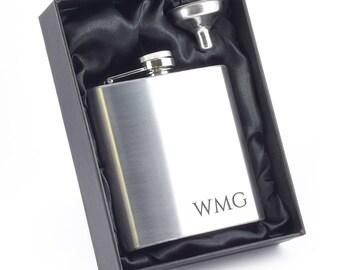 Engraved hip flask MONOGRAM monogrammed personalised gift, stainless steel, presentation box - 6SS_RMON
