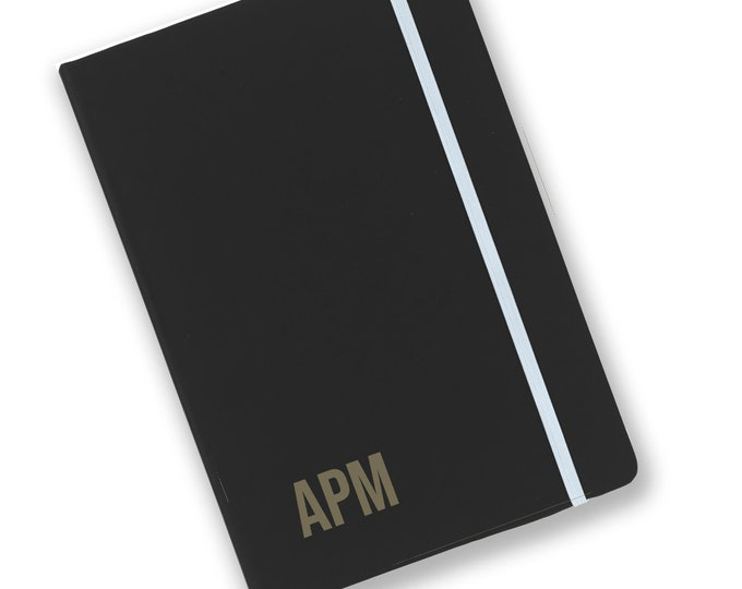 Personalised engraved A5 soft touch, black notebook, Monogram, monogrammed journal, book, notepad, lined notebook - BKA5-NOTE8