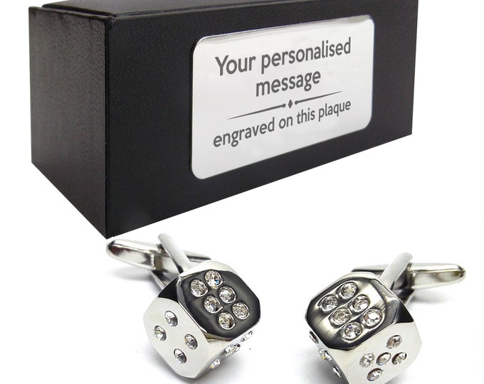 Casino dice with crystals novelty CUFFLINKS birthday gift, presentation box with PERSONALISED ENGRAVED plate, personalized, customized - 073