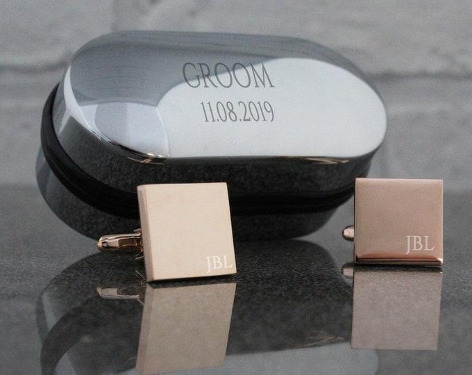 Engraved GROOM wedding cufflinks, rose gold, cufflinks, engraved cufflinks box - RSQ-W6