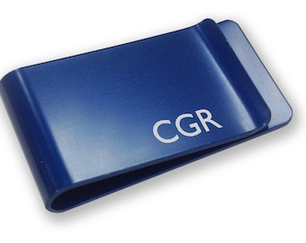 Personalised engraved Monogram Inititals MONEY CLIP gift - blue money clip annodised aluminium  - LMMN1B