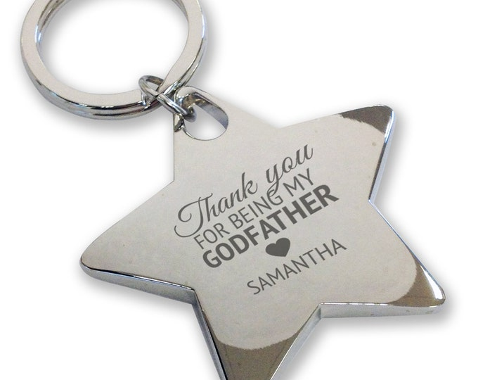 Personalised engraved GODFATHER keyring, christening, baptism, gift, deluxe chunky star keyring - GODF1