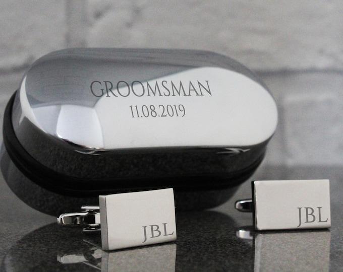Engraved GROOMSMEN wedding cufflinks, monogram, cuff links, engraved cufflinks box - RT-W9
