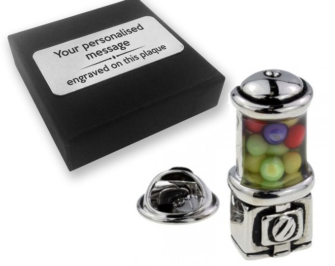 Bubble gum, sweets, candy, lapel pin badge, tie pin, brooch accessory, boutonniere - personalised engraved gift box - 875