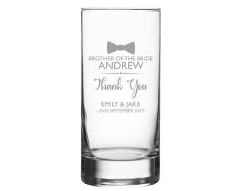 Personalised engraved brother of the bride glass gift, LEAD CRYSTAL hi ball tumbler wedding gift, bow tie - GHB-ED3