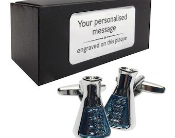 Chemist, chemisty teacher science flasks CUFFLINKS birthday gift idea, presentation box with PERSONALISED ENGRAVED plate - 968