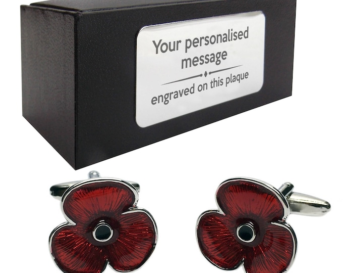 Red poppy remembrance CUFFLINKS gift, presentation box PERSONALISED ENGRAVED plate customized - 880