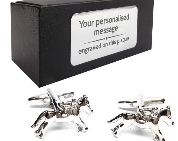 Horse racing equestrian CUFFLINKS gift, personalised engraved cufflink box - 014