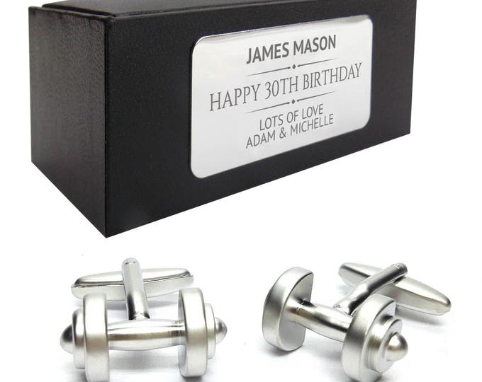 Weight lifting dumbbells CUFFLINKS gym gift for him, personalised engraved cufflink box - 265