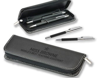 Personalised pen set, TEACHING ASSISTANT, gift, engraved, leather pu, engraved pen, writing, blue ink, BLP-TEA2