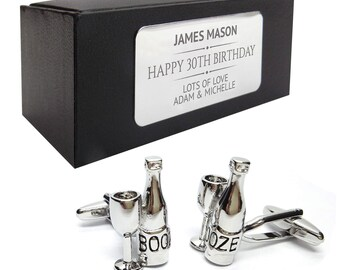 Wine glass bottle booze CUFFLINKS 30th, 40th, 50th, 60th, 70th birthday gift, presentation box PERSONALISED ENGRAVED plate - 021