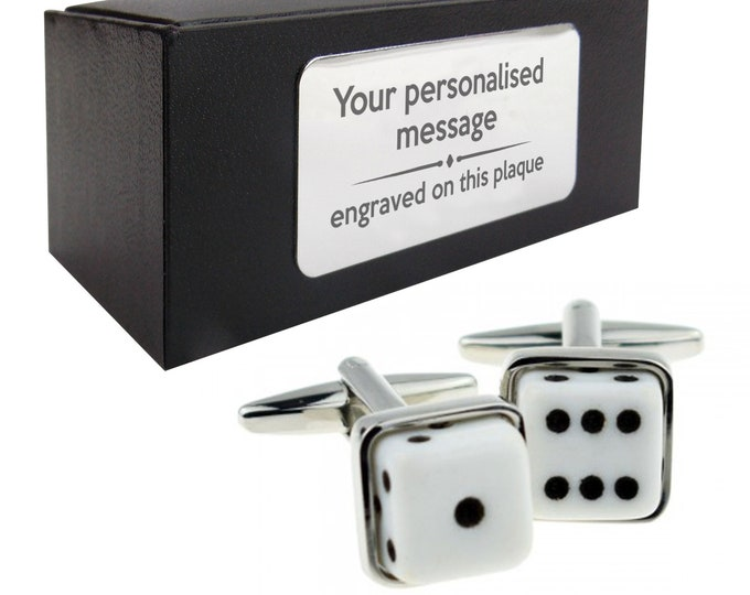 Casino dice las vegas CUFFLINKS gift for him, personalised engraved cufflinks gift box - 072