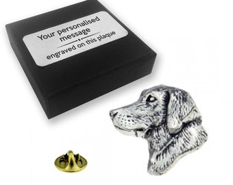 Labrador, retriever, dog, shooting, PEWTER, lapel pin badge, tie pin, brooch accessory, boutonniere - personalised engraved gift box - 23