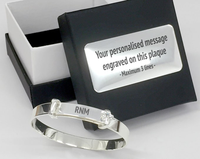 Engraved silver plated CHRISTENING baptism BANGLE gift, Personalised engraved jewellery box - 780