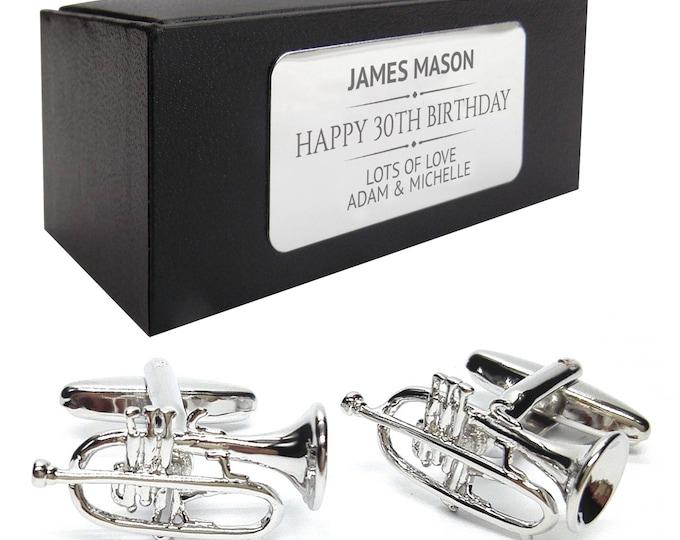 Music trumpet musical instrument CUFFLINKS birthday gift, presentation box PERSONALISED ENGRAVED plate - 416