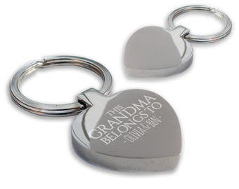 Personalised engraved This GRANDMA, granny, nanny, nan belongs to keyring gift, chunky heart shape keyring - HE-BEL2