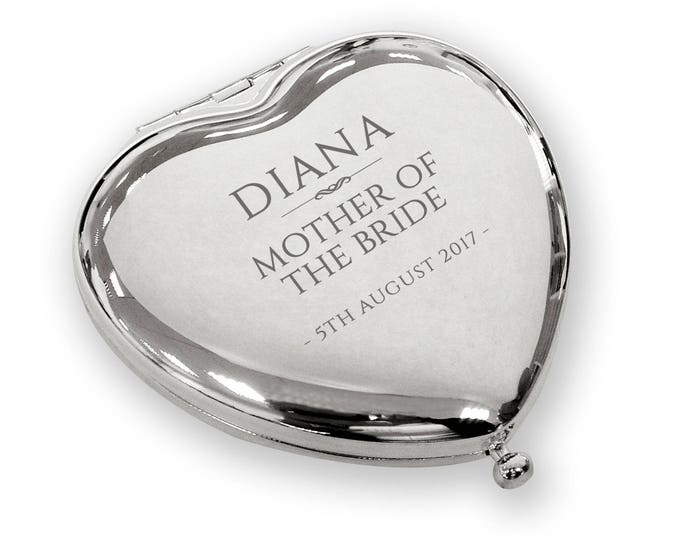 Personalised engraved MOTHER of the BRIDE heart shaped compact mirror wedding gift idea, SILVER plated - WH6