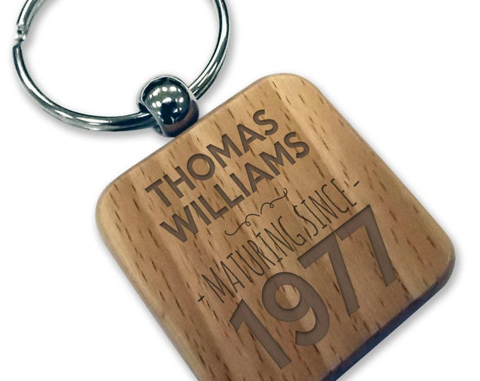 Personalised engraved 40TH BIRTHDAY wood keyring gift, wooden rounded square keyring - WDK40