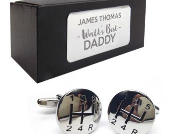 Gear stick motor car CUFFLINKS birthday gift, presentation box PERSONALISED ENGRAVED plate - 049
