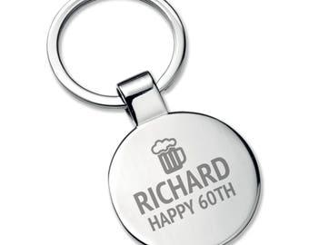 Engraved 60TH BIRTHDAY KEYRING gift, chromed round metal keyring, beer tankard - 5565RRK60