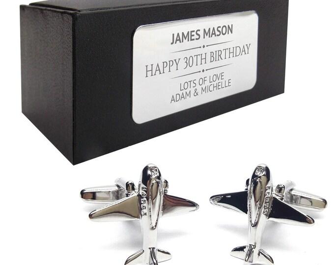 Airplane aeroplane pilot flight attendant CUFFLINKS gift, personalised engraved cufflink box - 152