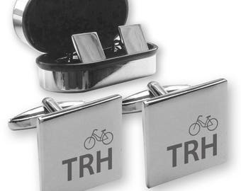 Personalised engraved monogram initials cufflinks gift, in a chrome coloured presentation box, bicycle - INB1