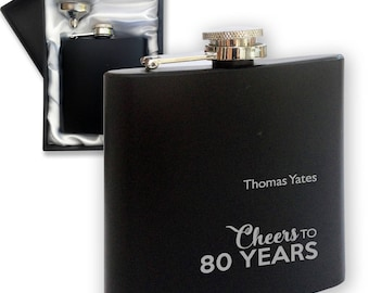 Personalised engraved 80TH BIRTHDAY hip flask gift , black hipflask in gift box - LCHE80BK