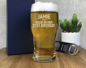 Laser engraved BIRTHDAY pint glass gift for an 18th 21st 30th 40th 50th 60th 70th birthday, gift boxed - PG-CBD