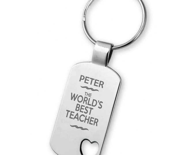 Engraved World's Best TEACHER keyring gift, heart cut out keyring - 5583TEA3