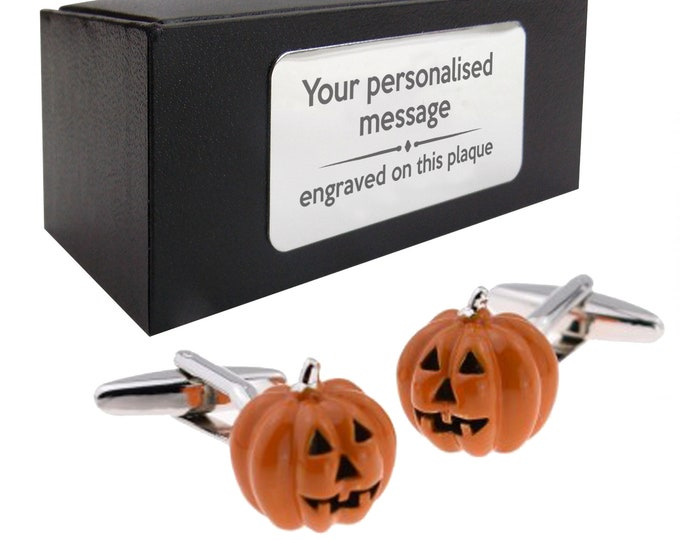 Pumpkin, halloween, scary themed novelty CUFFLINKS birthday gift, presentation box PERSONALISED ENGRAVED plate - 085