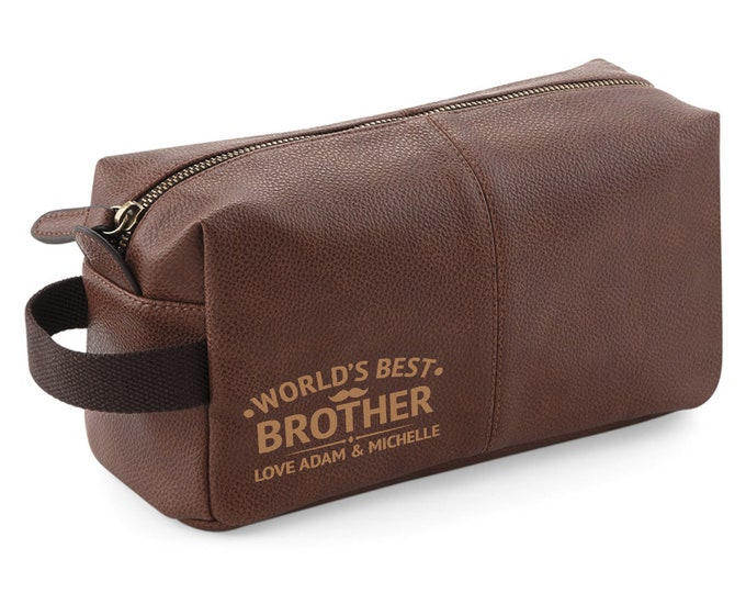 Personalised engraved World's Best Brother BROWN LEATHER pu washbag, toiletry bag gift - WB-WB5