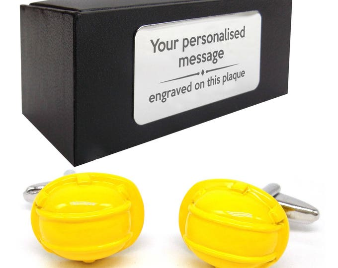 Builder yellow hard hat architect surveyor novelty CUFFLINKS gift, presentation box PERSONALISED ENGRAVED plate - 195