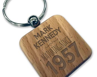 Personalised engraved 60TH BIRTHDAY wood keyring gift, wooden rounded square keyring - WDK60