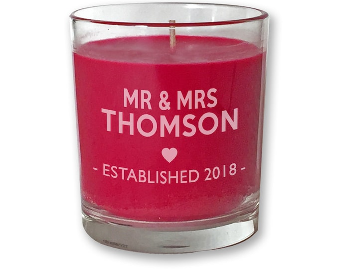 Personalised engraved WEDDING anniversary PRESENT scented candle gift, red, glass votive - CDL-C1EST