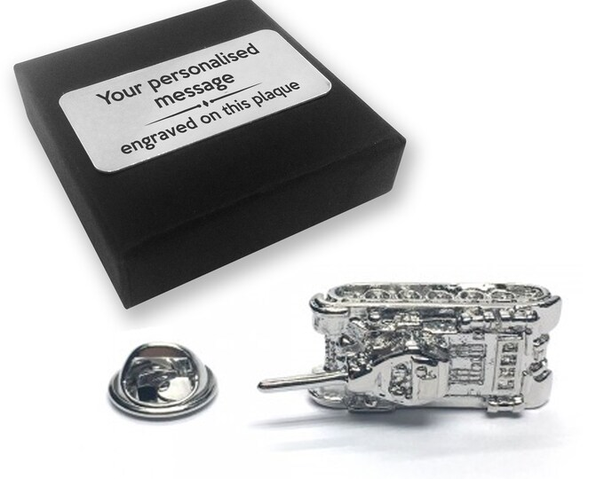 Military, tank, war, lapel pin badge, tie pin, brooch accessory, boutonniere - personalised engraved gift box - 803