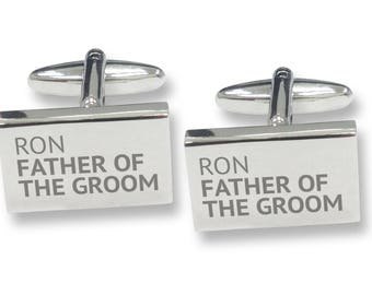 Engraved FATHER of the GROOM rectangle wedding cufflinks, rhodium plated - REP2