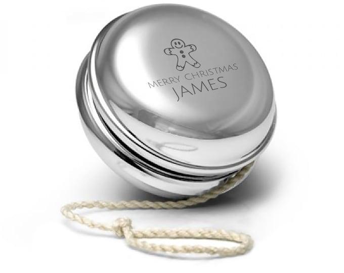 Engraved SILVER PLATED personalised yoyo yo-yo childrens kids christmas gift idea, xmas gingerbread man design - YO-XMA7