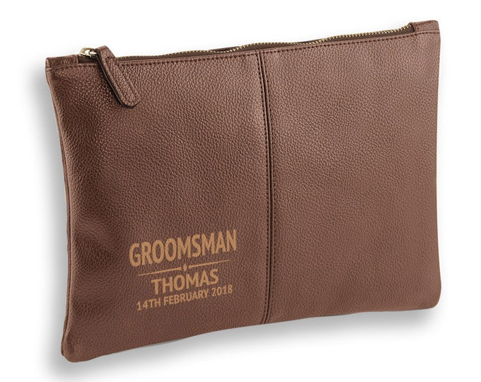 Engraved Groomsman wedding gift, BROWN LEATHER pu accessory case, tablet, wash bag, toiletry case - AC-WD4