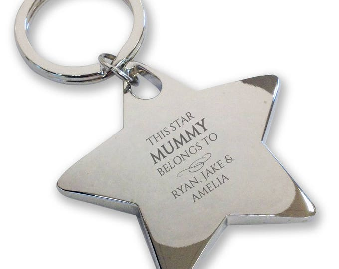 Personalised engraved This star MUMMY belongs to keyring gift, deluxe chunky star keyring - BE1