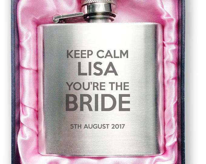 Personalised engraved Bachelorette HEN PARTY bride to be stainless steel hip flask gift, handbag sized, presentation box - 3HEN3