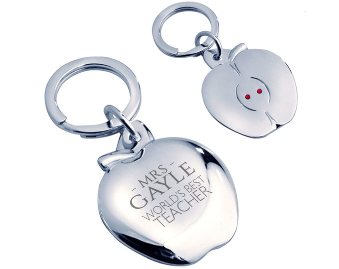 Personalised engraved World's Best Teacher keyring gift, silver plated, crystal - AP-TEA6