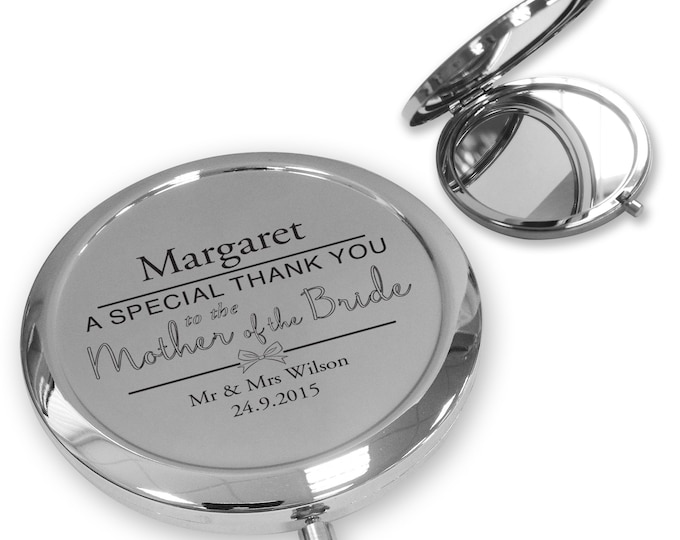 Personalised engraved MOTHER OF the BRIDE compact mirror wedding thank you gift idea, handbag mirror - BW6