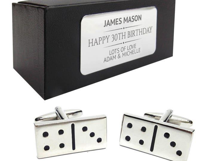 Dominoes, domino, pub game CUFFLINKS birthday gift, presentation box PERSONALISED ENGRAVED plate - 097